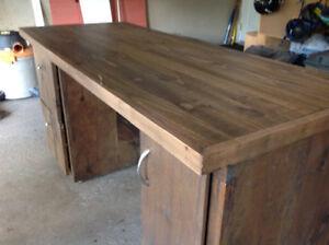Rustic looking solid wood desk