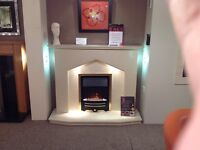 "Plain Gothic 54"" Ex Display Coral Cream Fireplace With Lights"