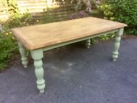 Large Waxed and Painted Pine Farmhouse Kitchen Table