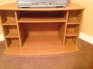 Attractive pine finish corner tv stand