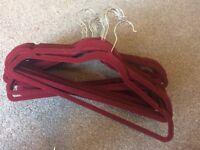26 dark red, burgundy, velvet, velour, non slip coat hangers