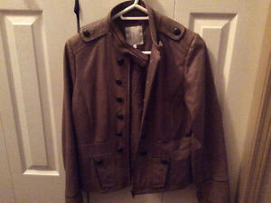 Beige short leather woman's jacket