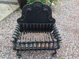 Black cast iron fire basket