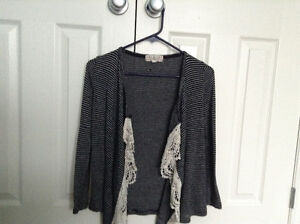 Size 8 girls stripped laced blouse