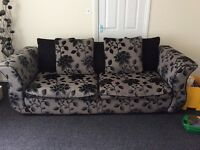 3 Seater Sofa 1 Single Chair. Black/Charcoal Grey Colour Suite