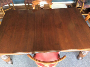 Ornate Antique Dining Table and Chairs