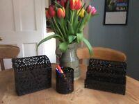 black desk/ stationary set