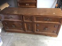 chest of drawers and long 6 draw dressor