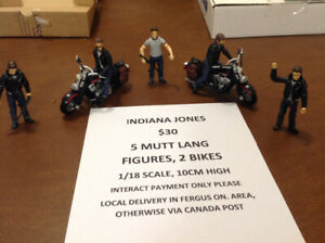 Indiana Jones, Mutt Lang figures and motor cycles. 1/18 scale