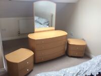 Dressing table/vanity unity with two bed side tables