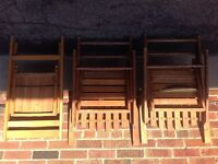 ANTIQUE VINTAGE FOLDING WOODEN CHAIRS LOT OF 3
