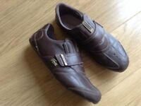 LACOSTE SPORT SOFT BROWN LEATHER TRAINER SHOES. SIZE UK 9.5 EUR 44.
