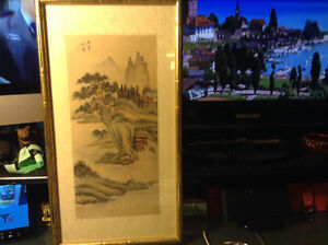 OLD VINTAGE ANTIQUE CHINESE SCROLL PAINTING ON SILK