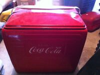 Coca Cola 1955 cooler, deck of cards and glasses