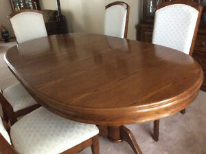 Dark oak dining table with 6 chairs and China cabinet