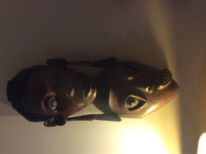 African hand made mask one of a kind carved out of one piece of