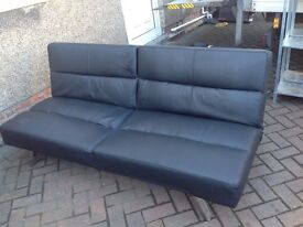 Black sofa bed leather effect