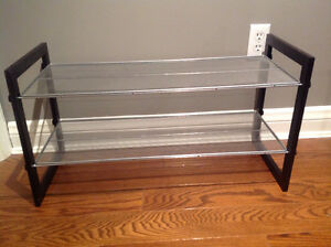Stacking wood and metal shoe/sweater rack
