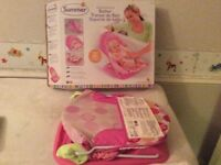 Pink foldable baby bath chair seat