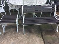 Cast Iron Bench And Table, freshly painted