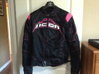Woman's Icon Contra textile motorcycle jacket (lrg)
