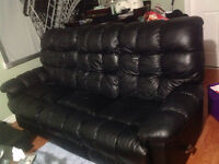 Black leather recliner and couch for sale