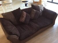 Brown, 2x3 seater sofa and armchair with storage footstool