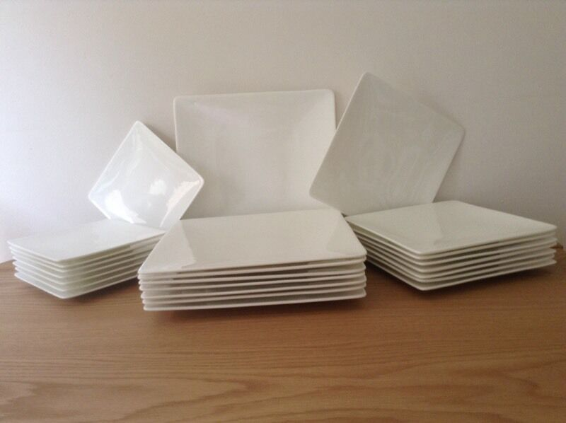 John Lewis   Queensberry Hunt  bone china square plates. Microwave and dishwasher safe & John Lewis