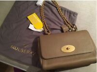 Genuine Mulberry Medium Dark Beige Lily Bag New With Tags