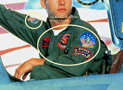 Halloween Kostüm Film Requisite: Top Gun USN Flieger-Anzug 5-Insignia Set