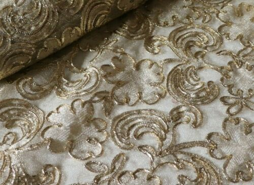 """BTY Vintage c1940s-50s French """"Hurel Paris"""" Gold Metallic Embroidered Gold Net"""