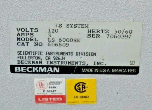 (Parting Out): BECKMAN COULTER LS 6000SE 606609 Scintillation Counter MANY PARTS