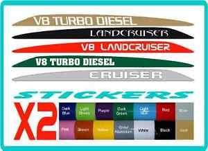 V8 Bonnet Stickers for Toyota Landcruiser 70 76 78 79,  customisable, 16 colours
