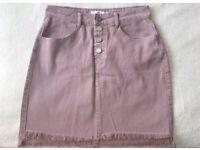 Missguided Pink Denim Skirt UK Size 8 Denim Skirt