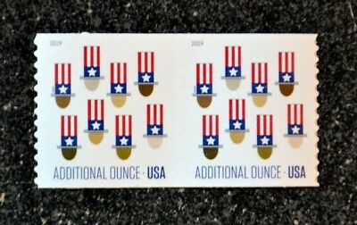 2019USA 15c Additional Ounce Rate - Uncle Sam's Hat - Coil Pair  Mint