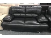 Black leather 2 seater and armchair