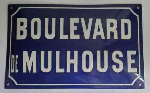 Vintage FRENCH Blue Porcelain Enamel Blue White Over Metal Street Sign FREEUSHIP