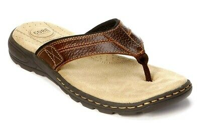 New Croft & Barrow thong sandals  Core Tech cushion Open toe mens leather SZ 8M Mens Leather Thong Sandals