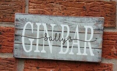 Gin Bar Personalised Hanging Shabby Vintage Chic Sign Bar Plaque Drinks Sign