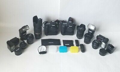 Canon EOS 5D Mark II and 7D with 6 lenses four flashes diffusers bag and extras
