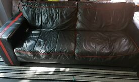 Leather sofa 3 and a 2.