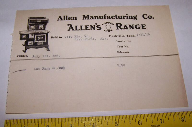 1923 ALLEN MANUFACTURING CO Invoice NASHVILLE TENNESSEE Copper Iron Range Stove