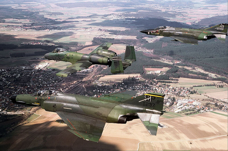 F-4G, A-10A, AND RF-4C-39-MC ABOVE RAMSTEIN BASE 8x12 SILVER HALIDE PHOTO PRINT