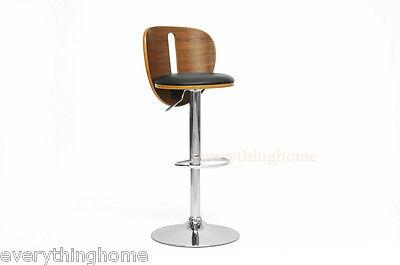 Leather Walnut Bar Stool - Walnut & Black Faux Leather Modern Bar Counter Stool Adjustable Hgt Swivel Seat
