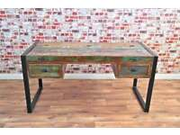 Rustic Industrial Office Desk with Laptop Storage Reclaimed Wood