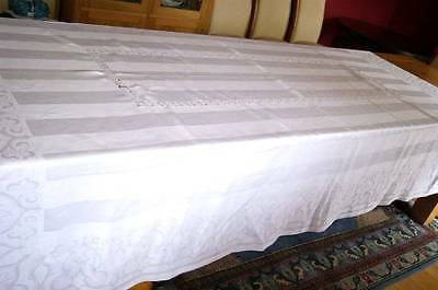 ANTIQUE IRISH LINEN DOUBLE DAMASK TABLECLOTH - Lace Inserts 8' 7
