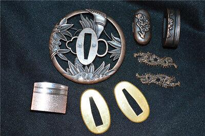 Japanese Samurai Sword Fitting Katana Guard Tsuba Alloy Accessories A Set](Katana Sword Accessories)