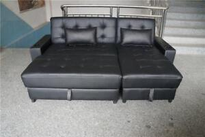NEW BLACK BONDED LEATHER 3 IN 1 SECTIONAL SOFA SOFA BED , STORAGE , CHAISE LOUNGER