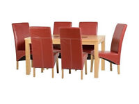 """Wexford 59"""" Dining Table With 6 Rustic Red Leather Chairs (G1)"""