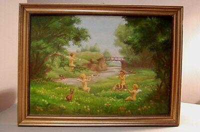 Gemälde mit Engel Putten Schutzengel Bild